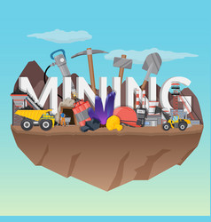 mining flat composition vector image