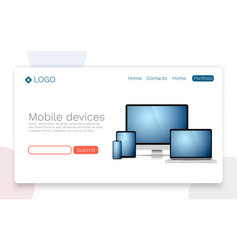 mobile devices landing page concept vector image