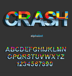 modern color crash font design for typography vector image