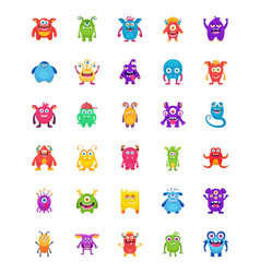 Monster characters flat icons vector