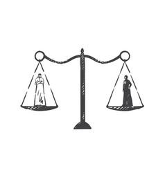muslim world gender equality concept sketch hand vector image