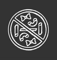 No pasta eating chalk icon carbs and gluten free vector