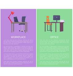 office workplace design table with computer laptop vector image