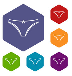Panties icons set hexagon vector