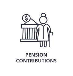 pension contributions line icon outline sign vector image
