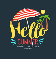 Poster retro style lettering hello summer vector