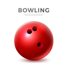 realistic red bowling ball with holes vector image