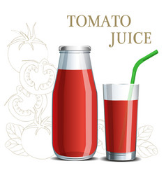 realistic tomato juice in a jar and a glass with vector image