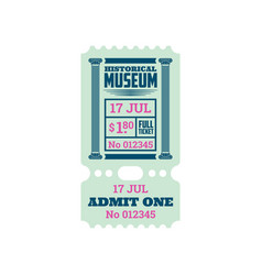 Retro ticket to historical museum isolated coupon vector