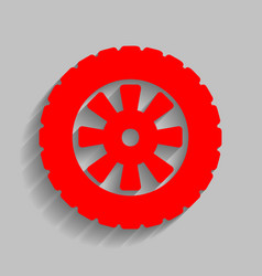 Road tire sign red icon with soft shadow vector