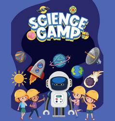 science camp logo with kids wearing engineer vector image