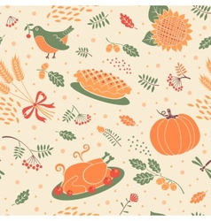 Seamless pattern with pumpkin leaves and wheat vector