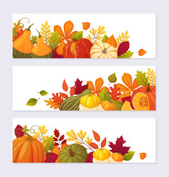 Set autumn banners vector