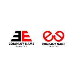 set initial letter ee logo template design vector image