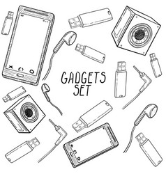 set of hand drawn gadget icons vector image