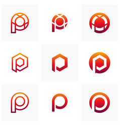 set of letter p logo icon design template vector image