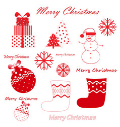 set red christmas and new year simbols vector image
