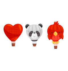 Shaped hot air balloons with basket isolated on vector