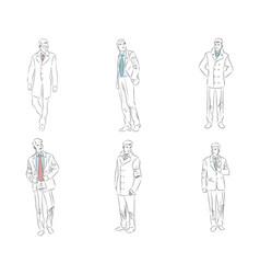 six businessman comtour vector image