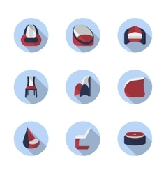 Stylish chairs flat color icons vector image vector image