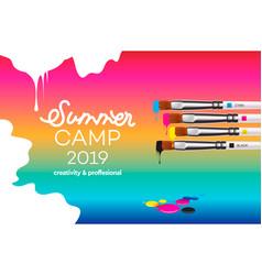 summer camp 2019 template for art design school vector image