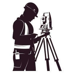 Surveyor and total station silhouette vector