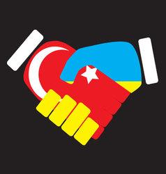 Symbol sign handshake Turkey and Ukraine vector image