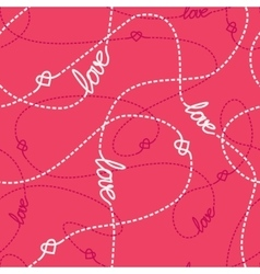 Tangled Lines and Hearts Seamless Pattern vector