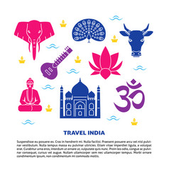 travel india bright banner with national symbols vector image