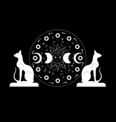 Triple moon and cats pagan wiccan goddess symbols vector
