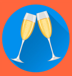 Two champagne glasses on blue round background vector