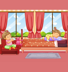 Two kids sleeping and drinking milk in bedroom vector
