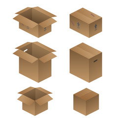 Various shipping packing and moving boxes vector