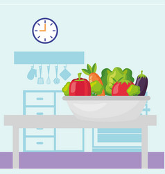 vegetables in the table kitchen vector image