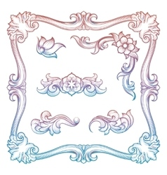 Vintage frame and decorative elements vector image vector image
