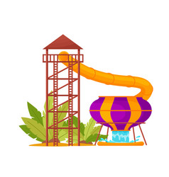 Water park with colored waterslide pool tube vector