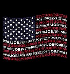 Waving usa flag stylization of job text items vector