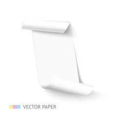 White vertical curved paper sheet banner with roll vector image
