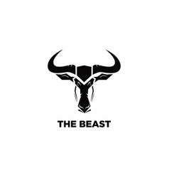 Wild beast simple black and white logo symbol vector