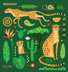 wild exotic cats tropical plants and ethnic vector image
