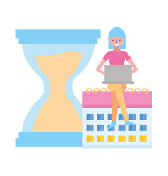 woman working laptop calendar clock vector image