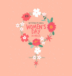 Womens day card pink flowers female sign vector
