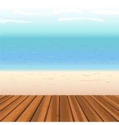 Wooden floor against sea vector