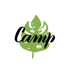 camp leaf calligraphy vector image vector image