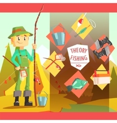 Fisherman And Thing Needed For Fishong Infographic vector image vector image