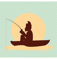 Fisherman on boat design camp concept sport vector image