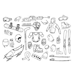 hand drawn winter sports equipment set vector image