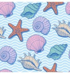 Sea hand drawn seamless pattern vector image
