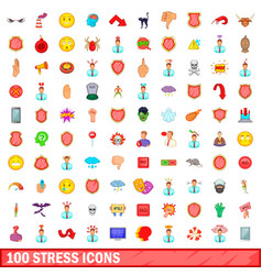 100 stress icons set cartoon style vector image vector image