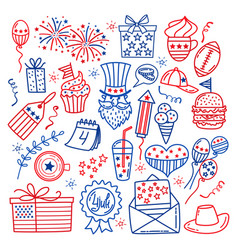 4 july usa independence day icons isolated on vector image